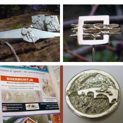 sl3004 logo jubileum relatiegeschenk bedrijfslogo embleem sieraden edelsmid goudsmid juwelier www.tonvandenhout.nl roermuntje promotie speld manchetknopen zilver goud