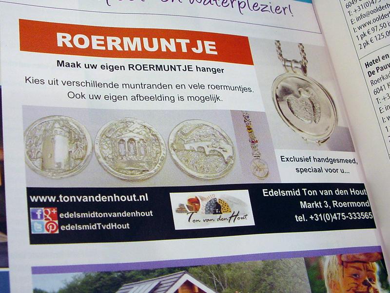 sr6065-roermuntje-advertentie-vvv-zilver-munt-hanger-roermond-handgemaakt-relatiegeschenk-www.tonvandenhout.nl-edelsmid-goudsmid-juwelier-kiosk-rattentoren-brug-hartje